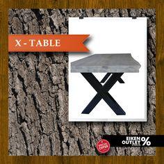 X-table Te koop in de eiken outlet store ! http://www.eikenoutletstore.nl/a-44190475/tafels/x-table/  Breed 100 cm, Lang 220 cm, Hoog 78.5 cm Bladdikte 8 cm, Poten 10*10 cm Europees eiken 2e kwaliteit Afwerking Super white  Mooi robuust design de ideale combinatie van eiken met staal. Het eiken tafel blad heeft nog de karakteristieke boomschors rand waardoor de tafel een natuurlijke look krijgt. De stalen X poten zijn gemaakt van onbewerkt staal voorzien van een kleurloze coating