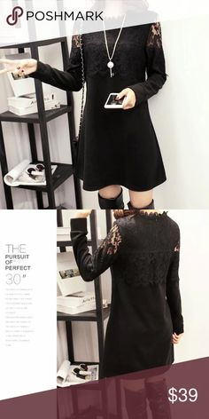"""Early spring ☘️🍀🌺Black lace winter dress Fitted style, great match with long boots or leggings                                                               🌹🌹.  bust/shoulder/length US XS.   33""""/15.4""""/31"""" US S.     34.5""""/15.7/31.5"""" US M.    36""""/ 16.1""""/31.8"""" US L.     37.8""""/16.9""""/32.3"""" US XL    39.4""""/17.7""""/32.6"""" Dresses"""