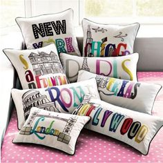 City pillows from pottery barn