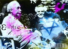 Albert Einstein and David Ben Gurion in 1951. A wonderfull painting on canvas or plexiglass to warm up your salon.