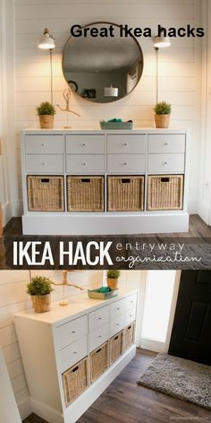 If we ever decide to upgrade our vinyl storage, we could keep the Kallax unit we have now and convert it like this! - Using Ikea Kallax Shelf To Organize Your Entry Beautifully wohnen Organizing My Entry! Easy, and on a Budget! Decoration Bedroom, Decor Room, Entry Organization, Office Storage Ideas, Ikea Organization Hacks, Shoe Storage Solutions, Ikea Kallax Regal, Ikea Kallax Hack, Ikea Shelf Hack