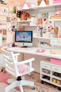 45 DIY Corner Desk Ideas with Simple and Efficient Design Concept Craft Room Design, Room Design Bedroom, Girl Bedroom Designs, Room Ideas Bedroom, Study Room Decor, Cute Room Decor, Craft Room Decor, Craft Desk, Diy Desk