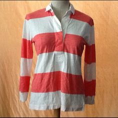 J. Crew 3/4 sleeve thin rugby shirt Classic J. Crew style in this rugby top. Very lightweight and features 3/4 sleeves. In great used condition. J. Crew Tops