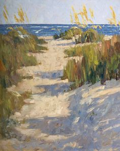 "James Nelson Lewis ""Beach Path"" An impressionist beach landscape painted with lots of texture. I like the pattern of the interesting blue shadows and golden grasses, plus a few subtle birds flying by."