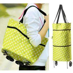 Eco Shopping Totes Purse Handbag Lightweight Trolley Bag Shoulder Bag On Wheels Luggage Sets, Travel Luggage, Travel Bags, Shopping Totes, Trolley Bags, Craft Bags, Shopper Bag, Japan Fashion, Green And Orange