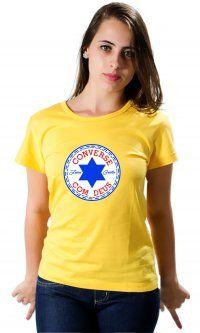Camiseta Converse com Deus  Franquia Camisetas da Hora - Oferta com tempo limitado, aproveite.  Camisas personalizadas namorados, camisas personalizadas para casais, camisas personalizadas gospel, camisas personalizadas para namorados, camisas personalizadas formatura