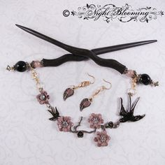 Greeting the Dawn Draped Swallow Hair Sticks by NightBlooming, $74.50