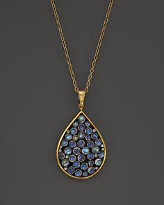 Gurhan 24K Yellow Gold and Sterling Silver Venus Necklace with Cabochon Moonstone and Diamonds, 16""