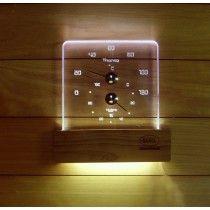 Kosteus- ja lämpömittari saunaan LED-valolla