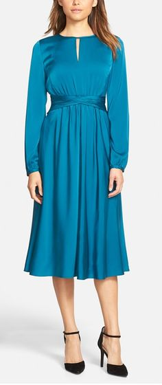 Classiques Entier® Keyhole Neck Ruched Waist Dress (Regular & Petite) available at Evening Dresses, Prom Dresses, Formal Dresses, Size 16 Dresses, Dresses For Work, Womens Dress Suits, Midi Length Skirts, 1930s Fashion, Fall Skirts