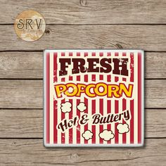 Retro Popcorn Drink Coaster, Movie Theater Coaster, Movie Night, Gift For Dad, Handmade Ceramic Tile Bar Coasters, House Gift, Made To Order by SRVintageandDesigns on Etsy