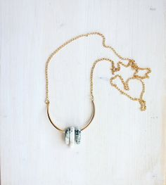 LILY necklace - long minimalist necklace, jasper and brass