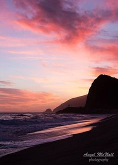 Pink Sunset Beach Photography by AngelMcNall (on Etsy)