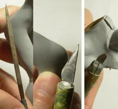 左二本は長いラインをひくときに使用するアイテムです。 半円のヤスリは、 ゆるい凹んだ曲面にも使います。   右の短い刃のデザインナイフは こまごまとしたラインをひくときに使用しています。   私の筋彫り作業は、大体この3本だけです。