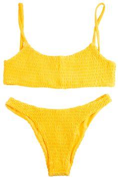 Yellow bikiniTextured fabricNo PaddingSoft seamless stitchingTrue ...