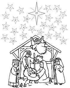 advent coloring pages | Color the manger scene, then each day color one star beginning with ...