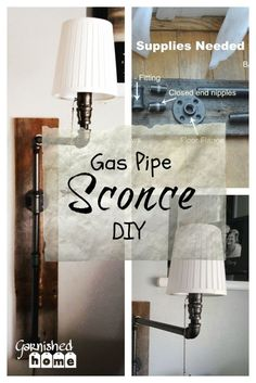 This DIY Gas Pipe Wall Sconce is the perfect mesh between the natural beauty of wood and the industrial feel of gas pipe and it provides great lighting!