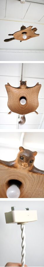 flying squirrel ceiling lamp.. Pretty sure I have a few family members who would love this!
