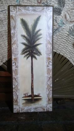 "Wood Tropical Palm Tree Decor Wall Plaque Sign 20"" x 8""  EUC #Tropical"