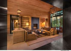 This spectacular mountain dream house designed by SANDBOX Studio is located in Martis Camp, California. Mountain Modern, Indoor Outdoor Living, Dream Home Design, California Homes, Walk In Pantry, Maine House, Great Rooms, Living Spaces, Living Rooms