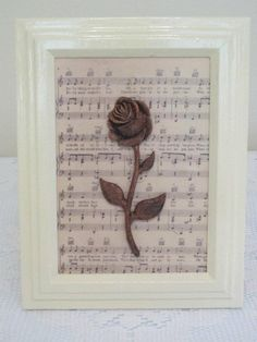 Painted frame with rose and music -- cute idea to expand upon