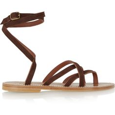 K Jacques St Tropez Zenobie suede sandals (5,675 MXN) ❤ liked on Polyvore featuring shoes, sandals, brown, strappy gladiator sandals, strap sandals, ankle wrap sandals, suede sandals and bohemian sandals