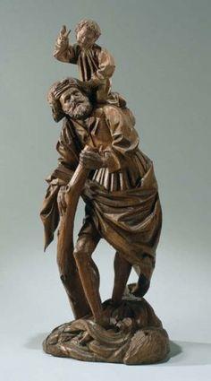 St Christophe, dans le nord des Pays-Bas, début du 16ème siècle, chêne, 40 cm.