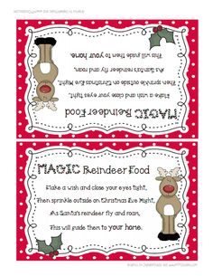 reindeer food.pdf   I love this!  Magic reindeer food to leave out on Christmas Eve.