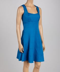 Love this Blue Scoop Neck Sleeveless Dress - Women by Jessica Simpson Collection on #zulily! #zulilyfinds