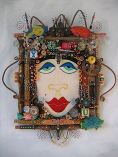 The Queen Of Everything, Original Found Object Assemblage, Wall Art, by Fig Jam Studio Assemblage Kunst, Art Altéré, Art Sculpture, Metal Sculptures, Abstract Sculpture, Bronze Sculpture, Found Object Art, Funky Art, Paperclay