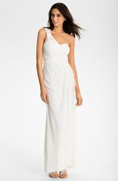 Xscape Beaded One Shoulder Sheer Mesh Gown available at #Nordstrom- for the trash the dress photo shoot!