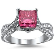 Beautiful Pink Diamond Engagement Ring With White Diamonds In White Gold Plated Silver $85.95 #Evolees www.evolees.com