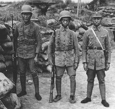 Chinese troops wear the M1935 German helmet imported by the Nationalist government in 1935-36 to supplement weapons needed in the defense against Japanese invasion.