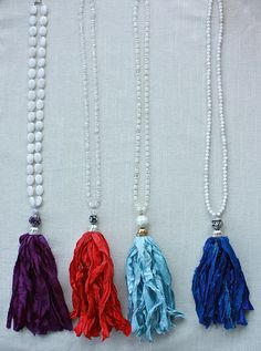 Silk Tassels Game Day Colors UNC, NC State, Duke, ECU by BeadedBlues on Etsy