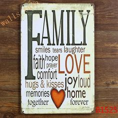 Vingate FAMILY Tin Sign Metal Plaque Vintage Home Wall Decor ,Warmly Decorated for Home Large Size 20x30cm $6.88
