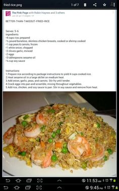 Better Than Takeout Fried Rice (made with cooked chicken, pork or shrimp) Great idea for leftover rotisserie chicken! Asian Recipes, Healthy Recipes, Ethnic Recipes, Entree Recipes, Chinese Recipes, Rice Recipes, Dinner Recipes, Rice Dishes, Main Dishes