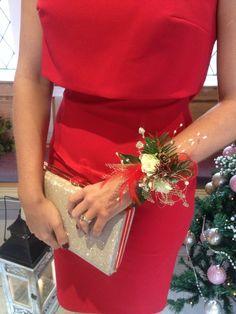 Winter wedding wrist corsage