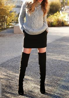 gray knitted sweater black skirt high heels. knitwear women fashion outfit clothing style apparel @roressclothes closet ideas