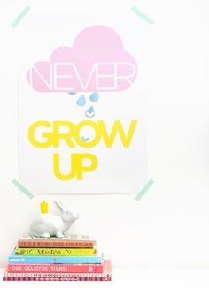 Zilverblauw Poster 'Never grow up'