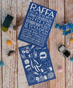 Raffa's Hand Lettered Birthday Party Invitations with Illustrations of Favorite Things by Shannon Snow and Chloe Marty / Oh So Beautiful Paper