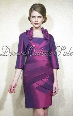 Tropical Sheath Knee-length Straps Fuchsia Satin Dress
