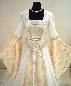 MEDIEVAL WEDDING DRESS 10-12-14 S-M GOTHIC WITCH CELTIC COSTUME TUDOR LARP LOTR