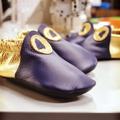 Design-Your-Own Shoe of the Week: Purple and Gold Roo Moccasins! Design Your Own Shoes, Your Shoes, Baby Moccasins, Baby Feet, Childrens Shoes, Vegetable Tanned Leather, Tory Burch Flats, Custom Shoes, Kid Shoes