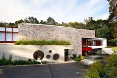Creative modern exterior, circles with a splash of red!
