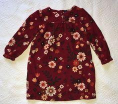 Baby Gap Burgundy Fall Flowers Corduroy Dress Euc Size 4 Years  #babyGap