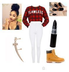 """""""Plaid in this b****"""" by dilynnjames ❤ liked on Polyvore featuring мода, Topshop, Timberland и Bee Goddess"""