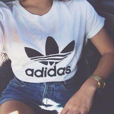 "Women Fashion ""Adidas"" Print T-Shirt Top Tee"