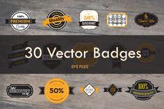 30 Vector Badges by VL Shop on @creativemarket