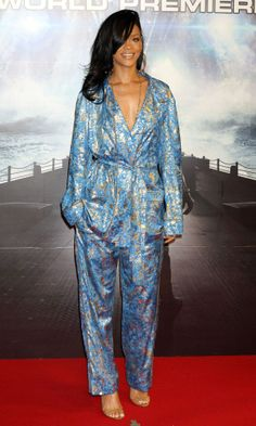 loving RiRi's sleepover meets red carpet silk suiting!
