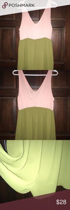 """Nasty Gal Pink & Green Romper In excellent condition. Super cute, flowy, lightweight romper. Top part is semi-sheer. Size small. Shorts length is 15.5"""". audrey Pants Jumpsuits & Rompers"""